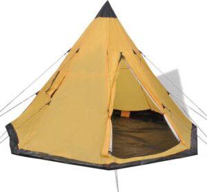 Tent 4 persoons Geel - Koepeltent 4 personen - Kampeertent - Pop-up tent